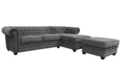 Chesterfield Corner Sofa Right Hand Fabric Grey