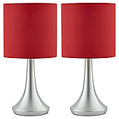 2 Touch Table Lamps - Red