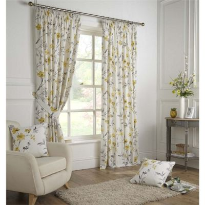 Fusion Odelia Ochre Pleat Curtains - 46x72 Inches (117x183cm)