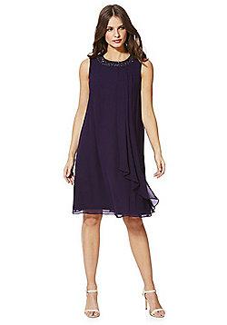 Roman Originals Embellished Neck Sleeveless Chiffon Dress - Purple