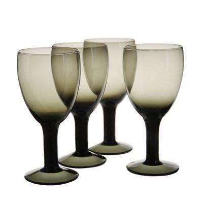 4 Piece Smoky Black Wine Glasses