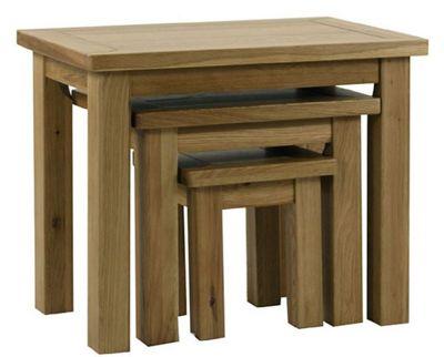 Kelburn Furniture Lyon 3 Piece Nest of Table Set in Light Oak Matt Lacquer