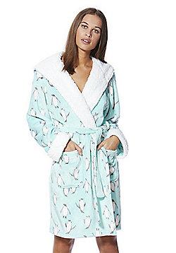F&F Penguin Print Fleece Dressing Gown - Blue