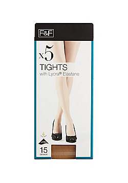 F&F 5 Pack of 15 Denier Tights with Lycra® - Natural