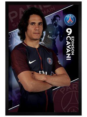 Paris Saint-Germain F.C. Black Wooden Framed Cavani 17/18 Poster 61x91.5cm