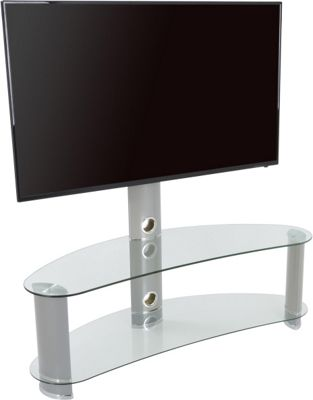 AVF Curved Cantilever TV Stand For up to 55 inch TVs - Clear Glass and Chrome Legs