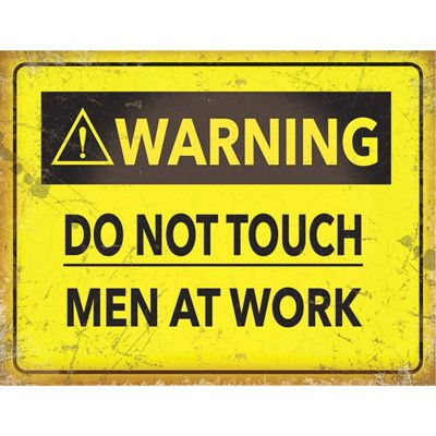 Warning Men Working Large Metal Sign - 30x40cm