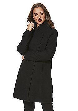 Only Asymmetric Front Coat - Black