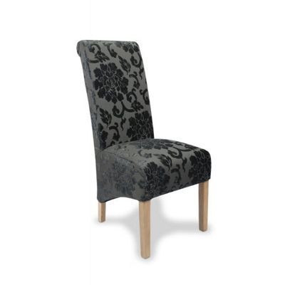 Pair of Krista Baroque Dining Chairs - Charcoal