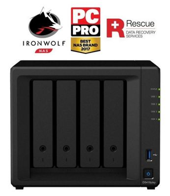 Synology DiskStation DS418play/40TB-IW Pro 4-Bay 40TB(4x10TB Seagate IronWolf Pro) multimedia-enhanced personal cloud solution