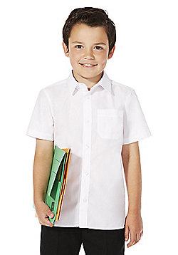 F&F School 2 Pack of Boys Non-Iron Short Sleeve School Shirts - White
