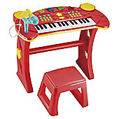 Carousel Light And Sound Keyboard And Stool Red