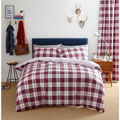 Catherine Lansfield Henley Check Red Duvet Cover Set - King