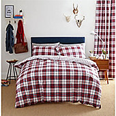 Catherine Lansfield Henley Check Red Duvet Cover Set - Red
