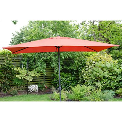 Oxford 3m x2m Rectangle Garden Parasol Red