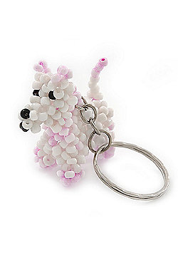 White/ Pink Glass Bead Scottie Dog Keyring/ Bag Charm - 8cm Length
