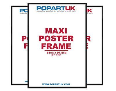 3 Pack Of Gloss Black Maxi Poster Frames - 61cm x 91.5cm