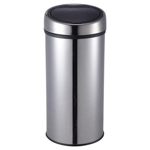 Tesco 30L Stainless Steel Push Top Open Kitchen Bin