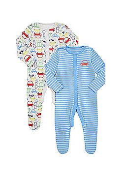 F&F 2 Pack of Car Print Sleepsuits - Multi