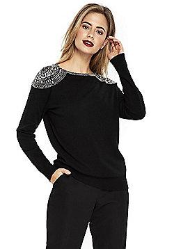 Wallis Embellished Shoulder Jumper - Black