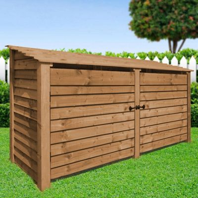 Normanton wooden log store with doors - 4ft