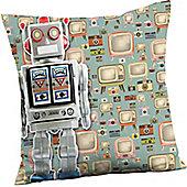 Retro Robot Cushion - Blue Super Soft Funky Cushion