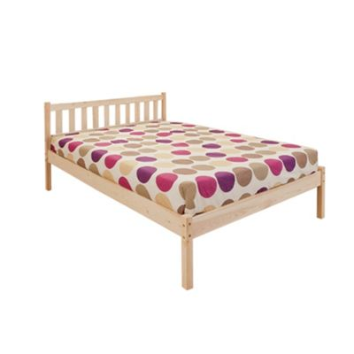Comfy Living 4ft6 Basics Wooden Bed Frame in Caramel with Damask Sprung Mattress