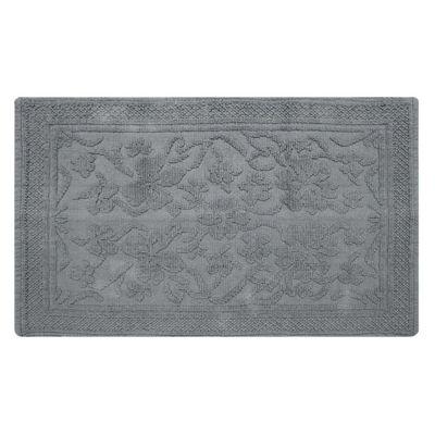 Homescapes Grey Cotton Jacquard Floral Rug, 66 x 200 cm