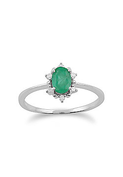Gemondo Emerald Ring, 9ct White Gold 0.47ct Emerald & Diamond Oval Cluster Ring
