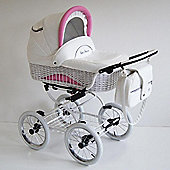 DaVos Scarlett Retro White Wicker 2 in 1 Pushchair (White/Pink)