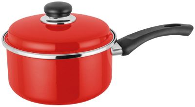 Judge Induction Enamelled Saucepan Pan with Lid | Red | 18cm 2.2 Litre