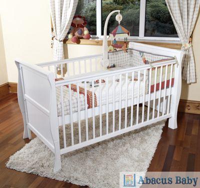 Scarlett Sleigh Cot Bed/Toddler Bed & Deluxe Sprung Mattress - White