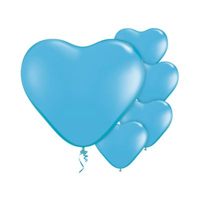 Pale Blue Heart 6 inch Latex Balloons - 100 Pack