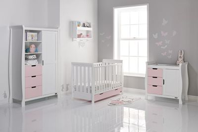 Obaby Stamford Mini Cot Bed 3 Piece Nursery Room Set - White with Eton Mess (Pink)