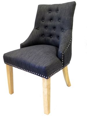 Winchester Set/2 Tufted Upholstered Dining Chair,Charcoal Grey
