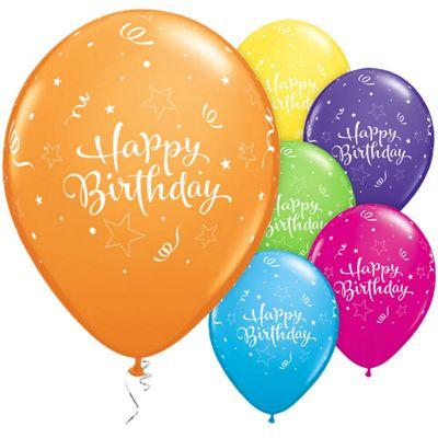 Shining Star Happy Birthday 11 inch Latex Balloons - 6 Pack
