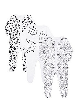 F&F 3 Pack of Happy Monster Print Sleepsuits - White & Black