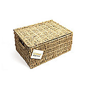 Woodluv Seagrass Storage Basket With Lid - Extra Large