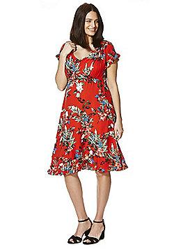 Mamalicious Frill Trim Floral Print Nursing Dress - Red