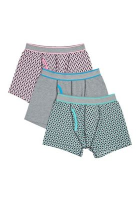 F&F 3 Pack of Checkerboard Print Trunks with As New Technology M Multi