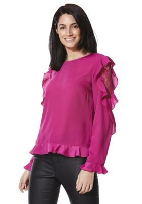 Vila Lace and Ruffle Detail Long Sleeve Top Magenta L