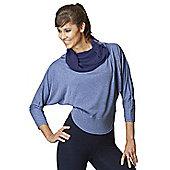 Womens Multi-Way 2 in 1 Reversible Long Length Sleeve Loose Yoga Top - Blue