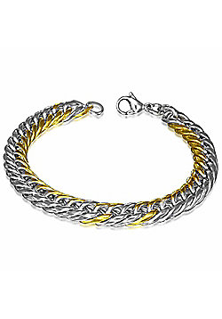 Urban Male Solid Stainless Steel Two Colour Double Curb Link Bracelet