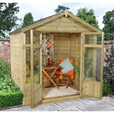 7 x 5 Rock Bloxham Summerhouse - Assembled Garden Wooden Summerhouse 7ft x 5ft (2.14m x 1.54m)