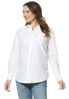 F&F Maternity Linen Shirt White 8