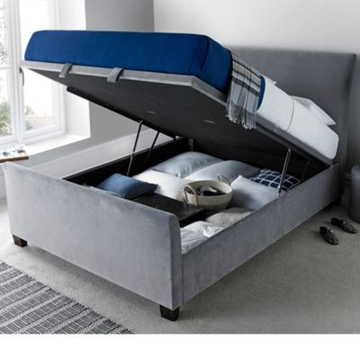 Happy Beds Allendale Plume Velvet Fabric Ottoman Storage Bed - Grey - 4ft6 Double