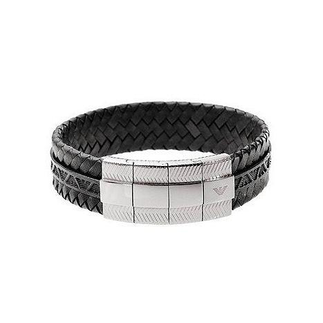 b7529b029 Emporio Armani Mens Black Leather Bracelet EGS1534040 Catalogue Number:  293-8742