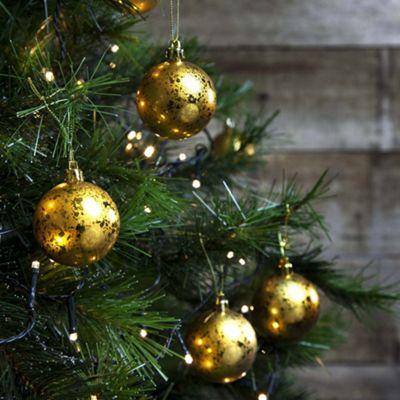 12pcs 6cm Shatterproof Gold Foil Christmas Tree Bauble Decorations