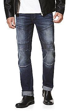 F&F Biker Style Stretch Straight Leg Jeans - Indigo