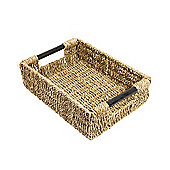 Woodluv Seagrass Storage Basket With Wood Handles - Medium